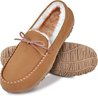 festooning Slippers for Men, Mens Moccasin Slippers Soft Plush Warm Lining Casual Slipper Shoes with Indoor Outdoor Anti Slip Rubber Sole