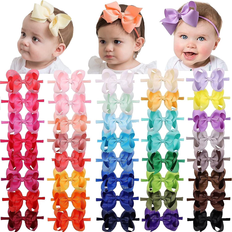 40 Colors Baby Girls Nylon Headbands 4Inch Grosgrain Ribbon Hair Bows Elastics Soft Nylon Hairbands Hair Accessories for Newborns Infants Toddlers Kids