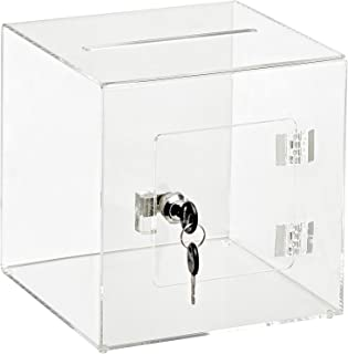 "AdirOffice 8"" x 8"" Acrylic Ballot Box Donation Box with Easy Open Rear Door - Durable Acrylic Box with Lock - Ideal for Vo..."