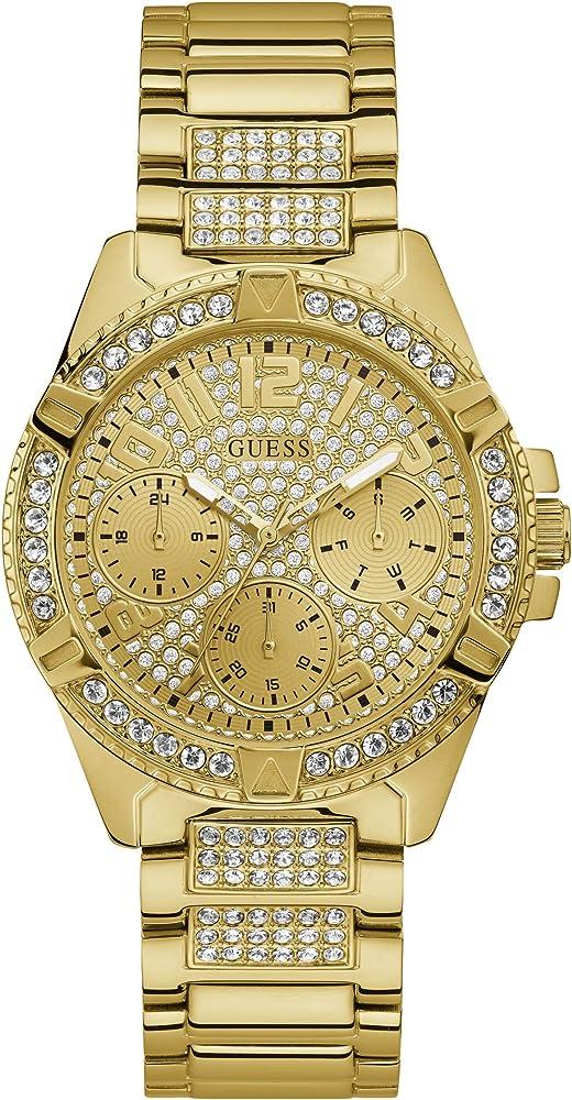 Guess,orologio per donna, in acciaio lucido con trattamento ip di colore oro con cristalli W1156L2