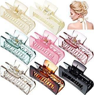8 Pieces Big Hair Claw Clips Large Strong Hold Hair Claw Clips Rectangle Hair Jaw Clamps for Women Girls Thick Thin Hair, ...