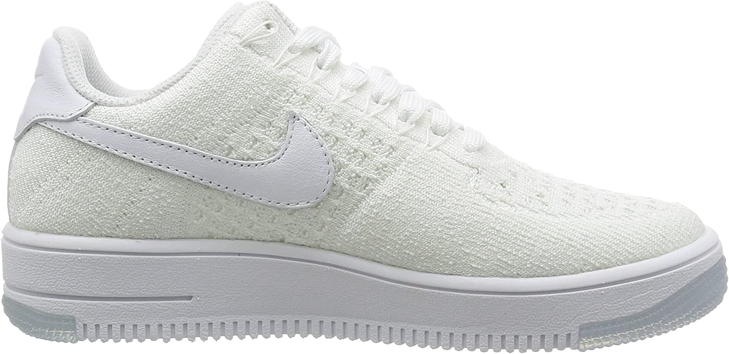 Amazon.com | Nike Womens AF1 Flyknit Low White/White Casual ...