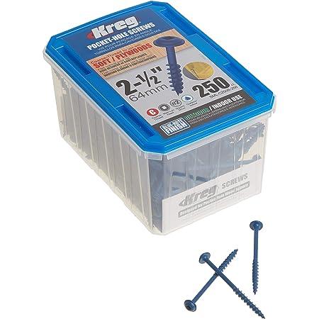 "Kreg SML-C250B-250 Blue-Kote Weather Resistant Pocket Hole Screws - 2 1/2"", 8 Coarse, Washer Head, 250 count"