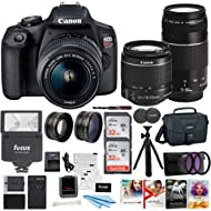 Canon EOS Rebel T7 DSLR Camera EF-S 18-55mm and EF 75-300mm Double Zoom Lens + 200ES Bag + Total...