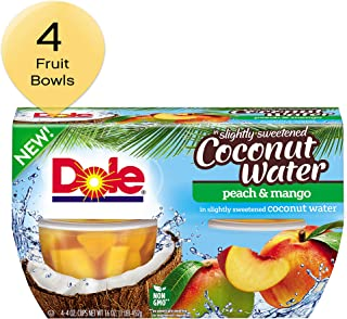 DOLE FRUIT BOWLS Peach and Mango in Slightly Sweetened Coconut Water, 4 Cups (6 Pack)