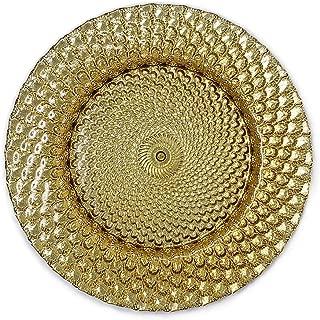 Elegant Classy Royal Shiny Gold Seashell Embossed Glass Dinnerware 13