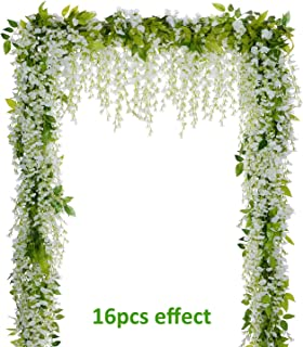 Lvydec Wisteria Artificial Flowers Garland, 4Pcs Total 28.8ft White Artificial Wisteria Vine Silk Hanging Flower for Home Garden Outdoor Ceremony Wedding Arch Floral Decor