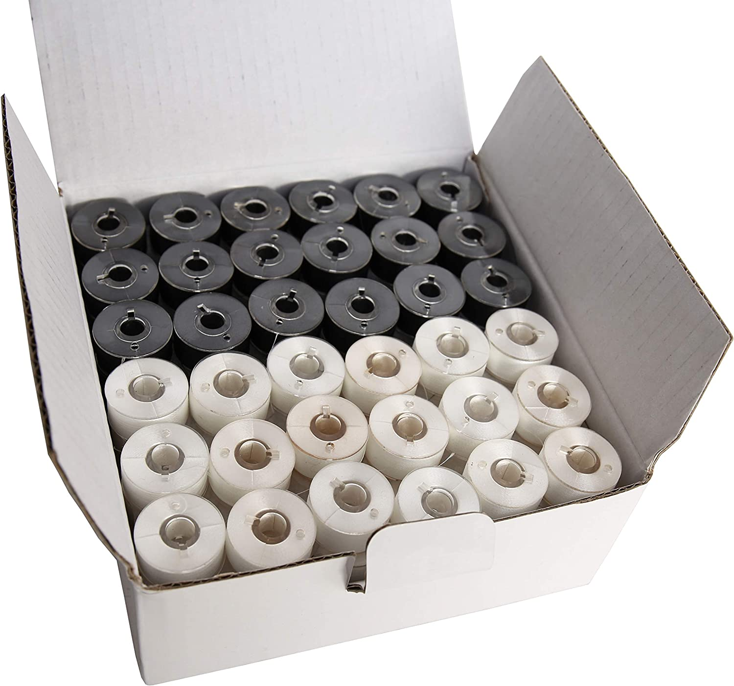 Simthread 144pcs Embroidery Pre-Wound Bobbins Thread Class 15 Type A Size SA156 Polyester White 60 wt Bernina Pfaff Ambition BabyLock Brother Embroidery and Sewing Machines Plastic Side