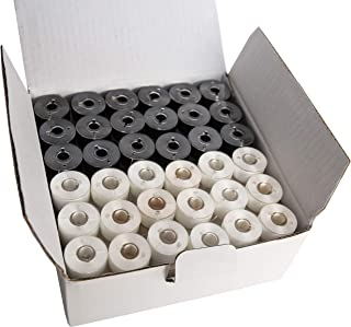 HimaPro 144 Black & White PreWound Bobbins for Embroidery Machines Size A (SA156) Class 15 Plastic Sided Good for Brother, Babylock, Janome Embroidery Machines etc