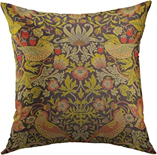 Mugod Pillow Cover Floral Patterns William Morris Strawberry Thief Work Home Decorative Throw Pillow Cushion Cover 16x16 Inch Pillowcase