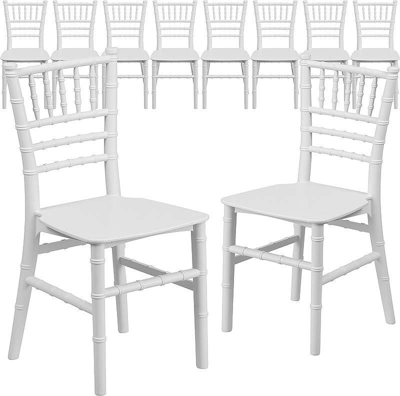 Flash Furniture 10 Pk Kids White Resin Chiavari Chair