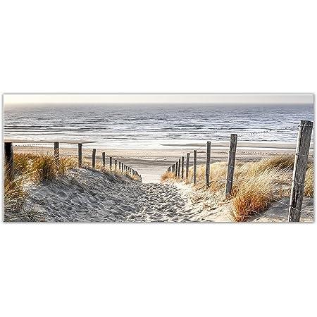 artissimo Glasbild 80x30cm Bild aus Glas Wandbild Wohnzimmer Strand Topseller