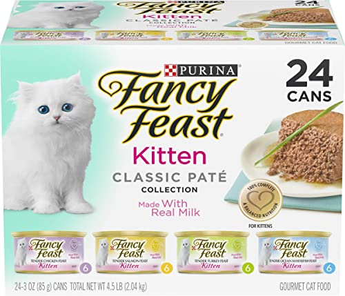 Purina Fancy Feast Grain Free Pate Wet Kitten Food Variety Pack, Kitten Classic Pate Collection, 4 flavors - (24) 3 o...