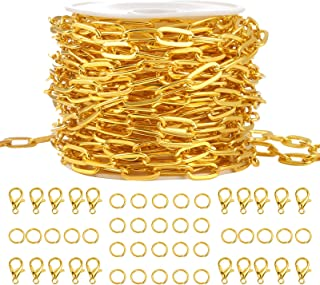 PP OPOUNT 16 Feet Gold Plated Dainty Paperclip Chain Link Necklace with 20 Lobster Clasps and 30 Jump Rings for Jewelry Ma...