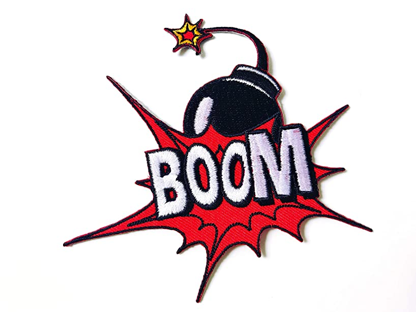 Tyga_Thai Brand Boom Bomb Sound Attack Effect Nuclear War Cute Cartoon Logo Applique Embroidered Sew on Iron on Patch for Backpacks Jeans Jackets Clothing etc.(Iron-Boom-Bomb)