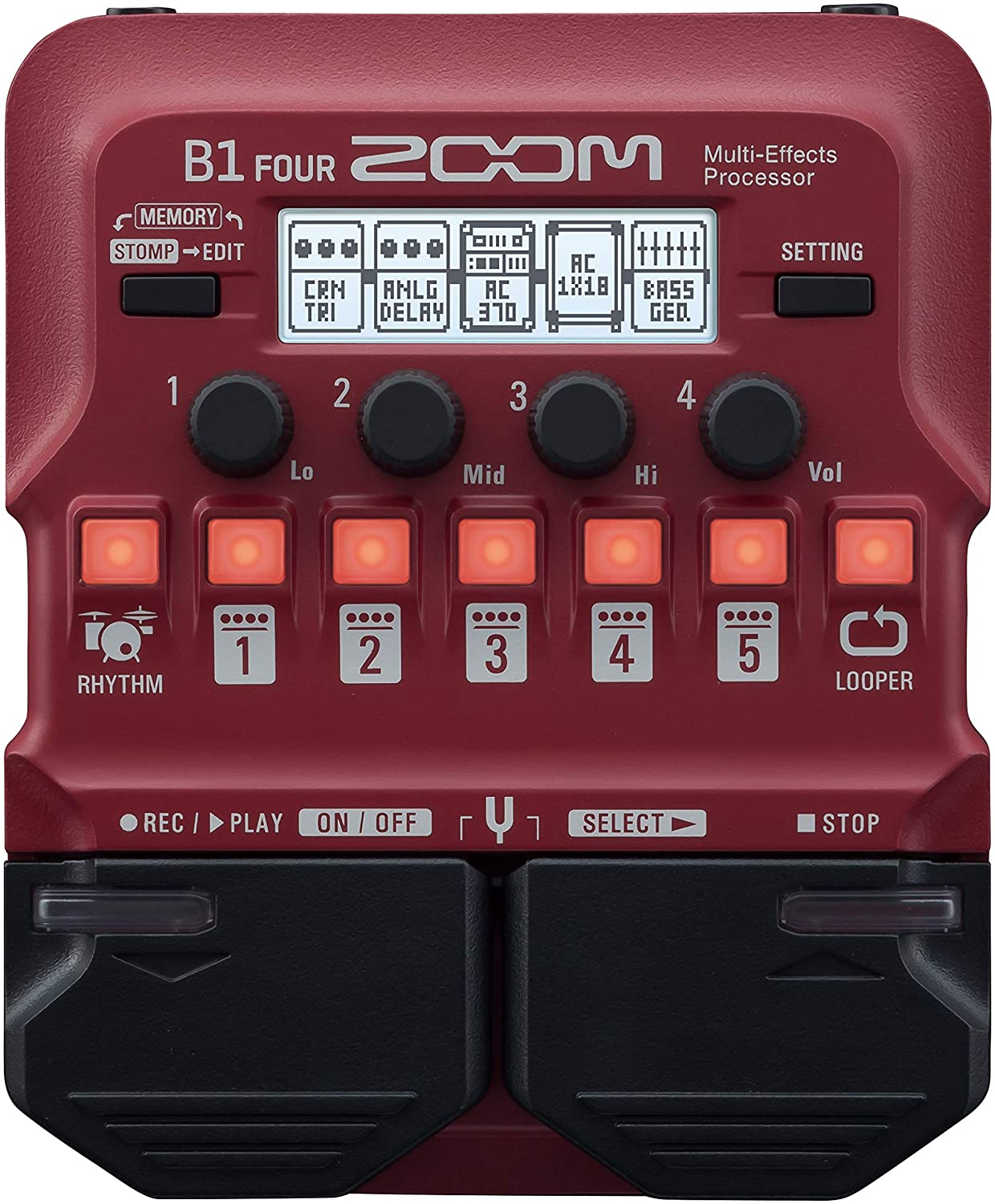 Zoom B1 FOUR Bass Guitar Multi-Effects Processor Pedal, With 60+ Built-in effects, Amp Modeling, Looper, Rhythm Section, Tuner, Battery Powered