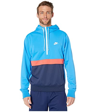 Nike NSW Hoodie 1/2 Zip Poly Knit (Light Photo Blue/Ember Glow/White) Men