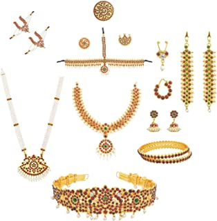fashionAtelier Multi Color Full bharatanatyam jewellery Dance Set (10 Items)