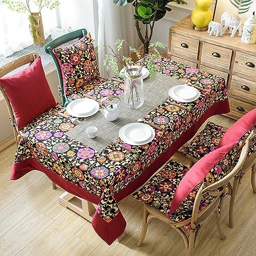 Venta en línea de descuento de fábrica Table cloth  -) Mantel pequeño algodón Floral Floral Floral de Lino a Prueba de Polvo Cubierta de Tabla Rectangular para la Cocina Comedor decoración de Mesa (Color   A, Tamaño   140x140cm)  al precio mas bajo