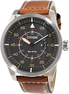 Citizen Men's Black Dial Leather Band Watch  - AW1360-12H