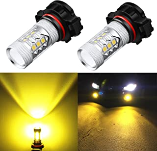 Alla Lighting 2054 PSX24W LED Yellow Fog Lights Bulbs Xtremely Super Bright High Power 3030 SMD Chips 12276 3000K Amber 2504 PSX24W Fog Light Bulb Replacement for Cars, Trucks