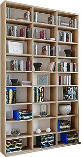 VCM Megosa Maxi sammelregal estantería Biblioteca Almacenamiento, Madera, Roble Sonoma, 182,8x 102x 23cm
