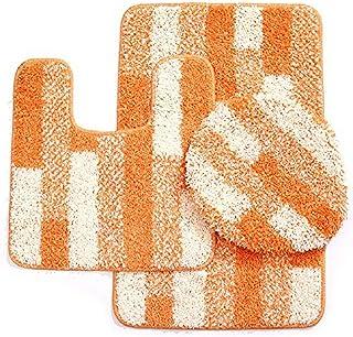 Daniel's Bath 3 Piece Bath Set with 20'' x 31'' Bath Mat, 20'' x 20'' Contour Mat & 18'' x 18.5'' Lid, Orange