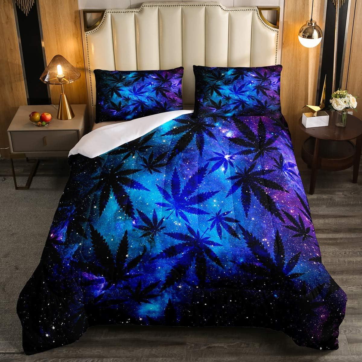 Feelyou Marijuana Sales results No. Sale 1 Leaf Comforter Set Cannabis Full L Size Galaxy