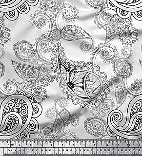 Soimoi White Silk Fabric Black Sketch Paisley Print Fabric by The Yard 42 Inch Wide