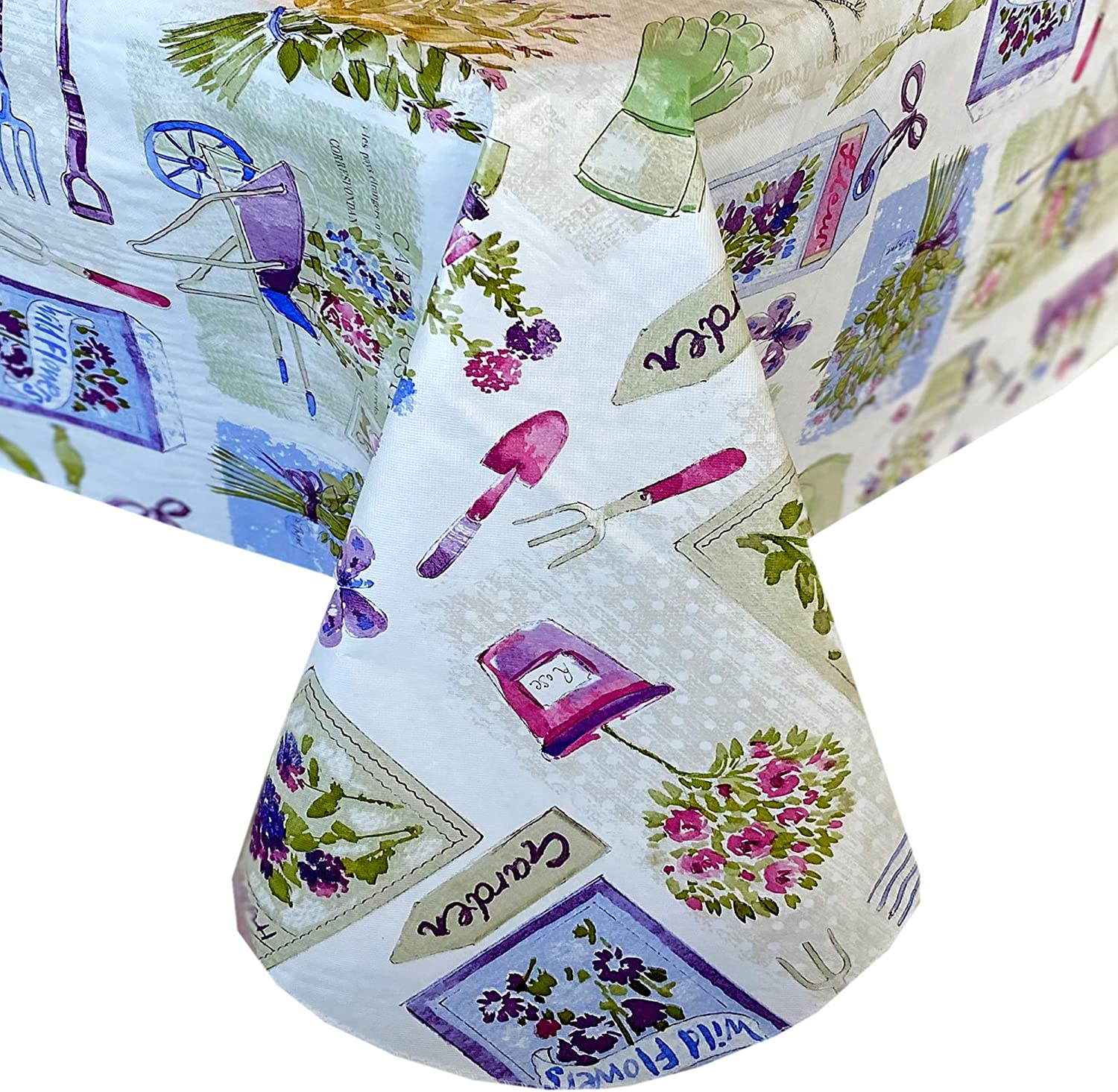 """Newbridge Garden Party Spring and Summer Vinyl Flannel Backed Tablecloth - Cottage Garden, Butterflies and Bouquets Easy Care Indoor/Outdoor Tablecloth, 60"""" x 102"""" Oblong/Rectangle"""