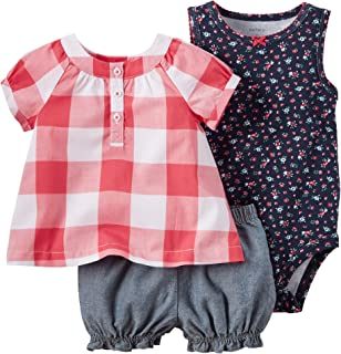 Carters Baby Girls 3-pc. Plaid Floral Bodysuit Set 12 Months Red/navy blue