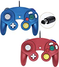 Wired Gamecube Controllers for Nintendo Wii Game Cube Switch Console (Blue and Red)