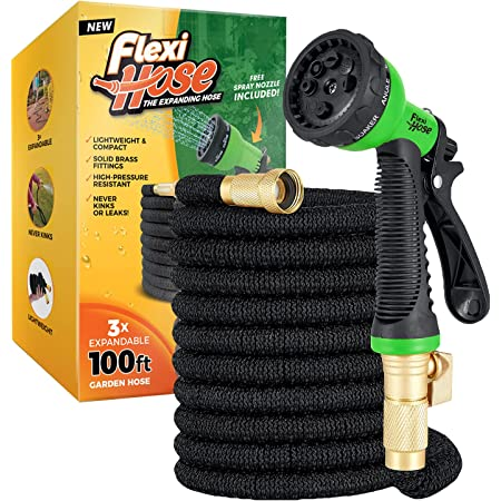 """Flexi Hose Upgraded Expandable Garden Hose, Extra Strength, 3/4"""" Solid Brass Fittings - The Ultimate No-Kink Flexible Water Hose, 8 Function Spray Included (100 FT, Black)"""