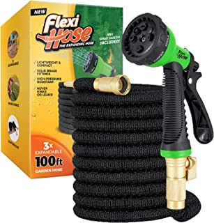 """Flexi Hose Upgraded Expandable Garden Hose, Extra Strength, 3/4"""" Solid Brass Fittings - The Ultimate No-Kink Flexible Wate..."""