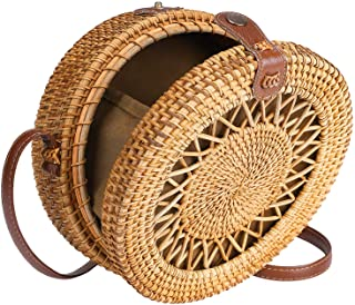 Round Rattan Bag for Women Straw Bag Handwoven Beach Bohemian Shoulder Purse by Enmain