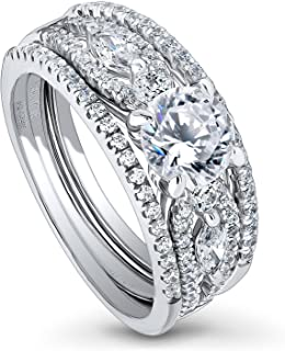 Rhodium Plated Sterling Silver Solitaire Engagement Wedding Ring Set Made with Swarovski Zirconia Round 1.81 CTW