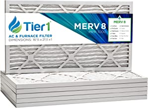 Tier1 16-3/8x21-1/2x1 Merv 8 Pleated Dust & Pollen AC Furnace Air Filter 6 Pack