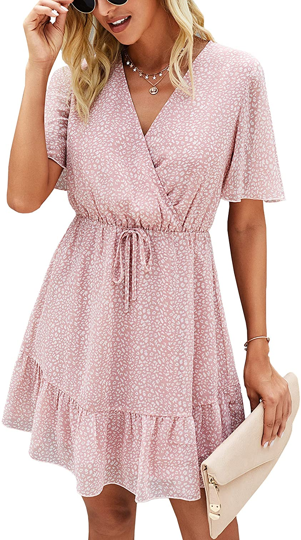 ECOWISH Womens Ruffle Dress V Neck Swing Summer Short Sleeve Floral Sundress Casual Mini Dresses