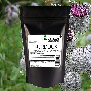 Nutrics® 100% pura raíz de bardana 530 mg   90 cápsulas veganas (1 mes de suministro)   Hecho en el Reino Unido por Nutric...