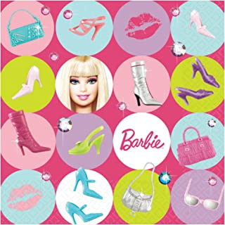 Barbie All Dolled Up Luncheon Napkin, 6-1/2 x 6-1/2 Inches, 16-Count