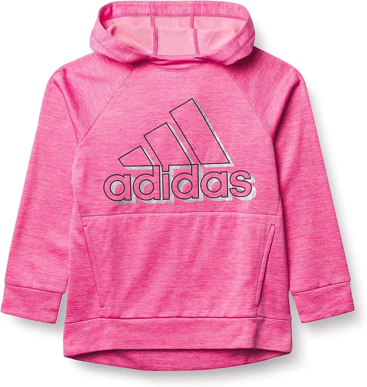 adidas Girls' Fleece Pullover Hooded Raglan Sweatshirt
