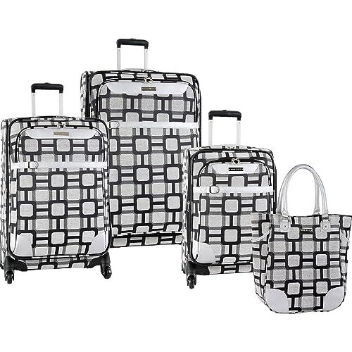b69948f3a Ninewest 4 Piece Spinner Luggage Set, Black/Grey