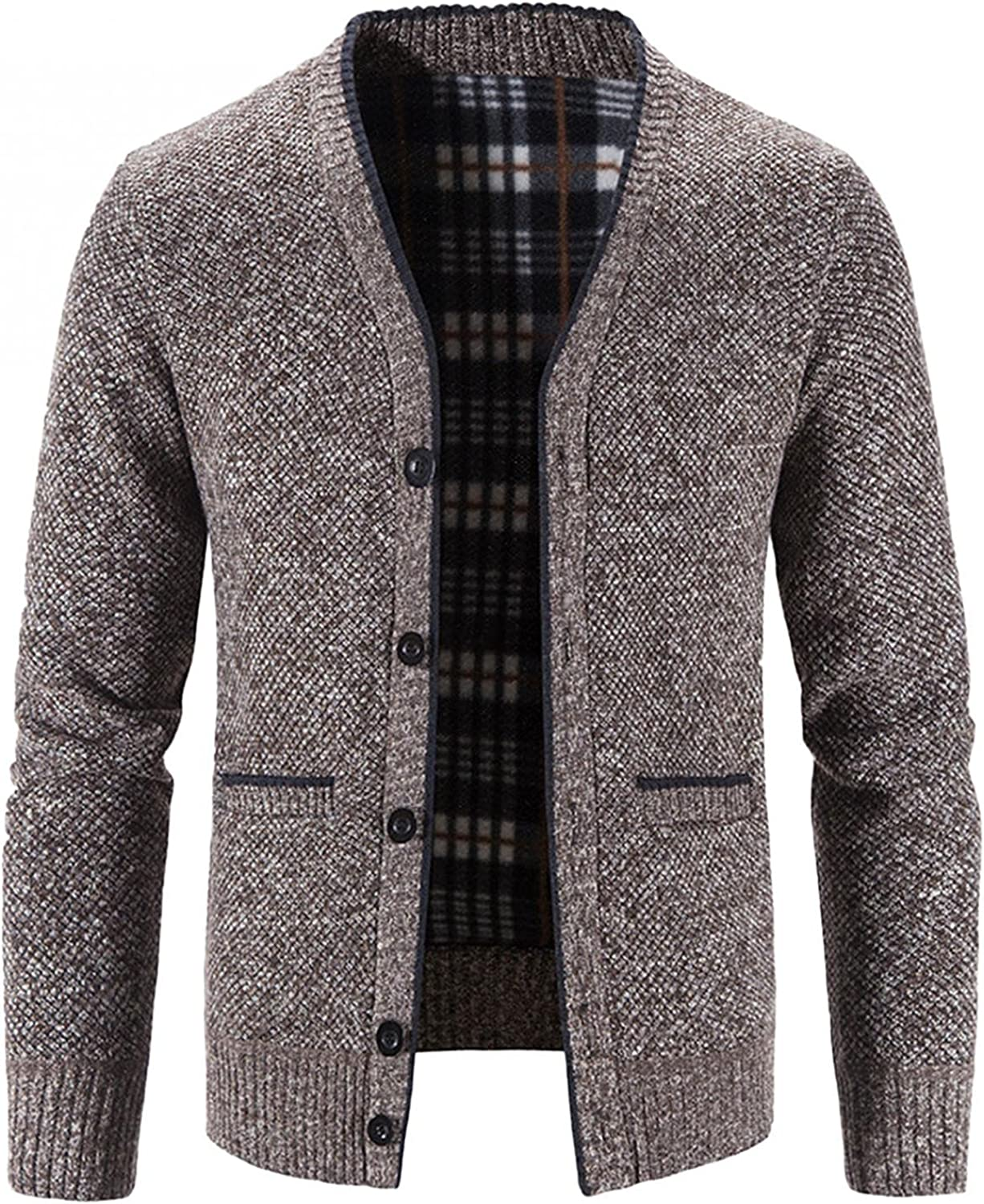 Aayomet Men's Fashion Cardigan Winter Warm Solid Button Long Sleeve V-Neck Casual Pullover Tops Blouses Coat with Pockets