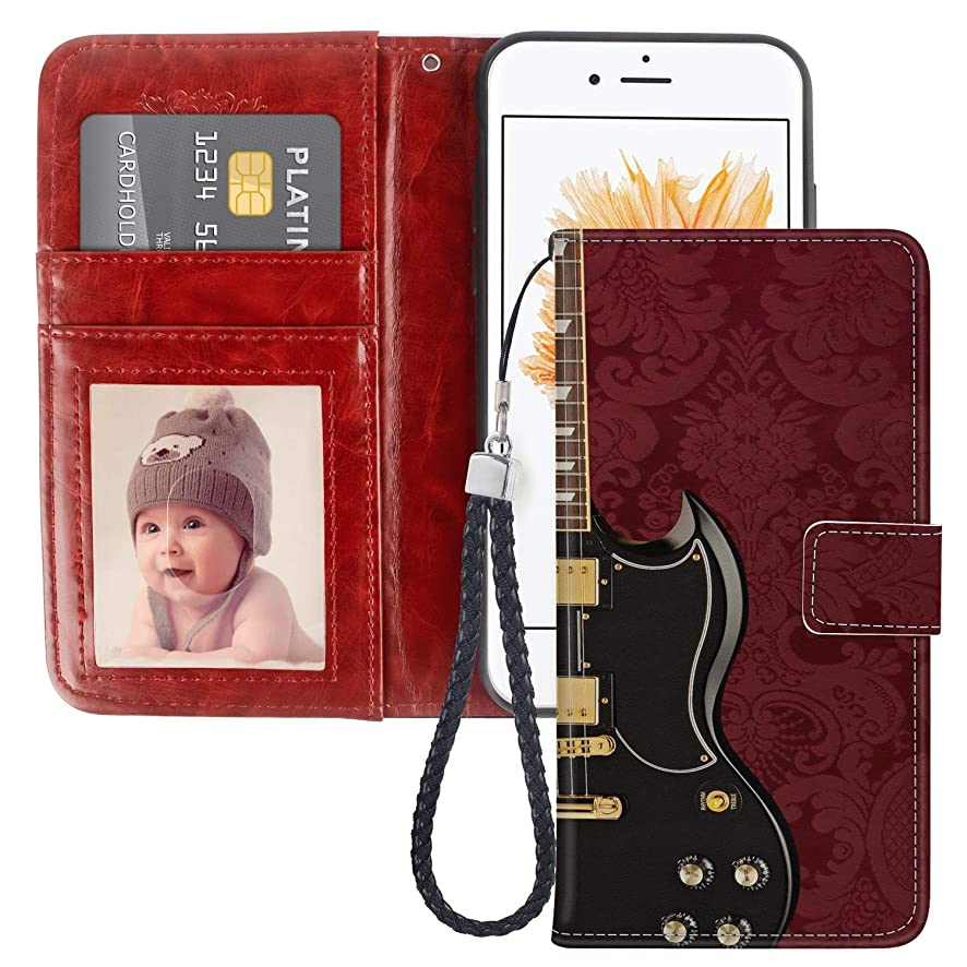 Uniquely Designed Electric Guitar iPhone SE Wallet Case Shockproof Flip Folio Synthetic Leather Magnetic Wallet Case for iPhone 5S 5 with ID and Credit Card Pockets Hand Strap