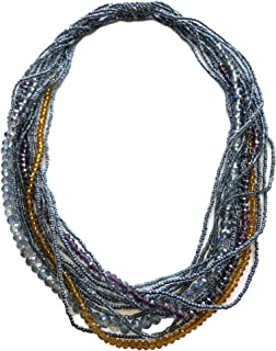 Mayan Arts Multi Strand Beaded Necklace, Multi Color, Blue and Gold Tones, Sparkly Beads, Women Necklaces, Jewelry, Magnetic Clasps, 19.5 Inches Long