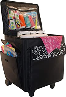 Everything Mary Rolling Serger Machine Tote – Serger Machine Case Fits Most Standard Brother & Singer Serger Machines - Serger Bag with Wheels & Handle