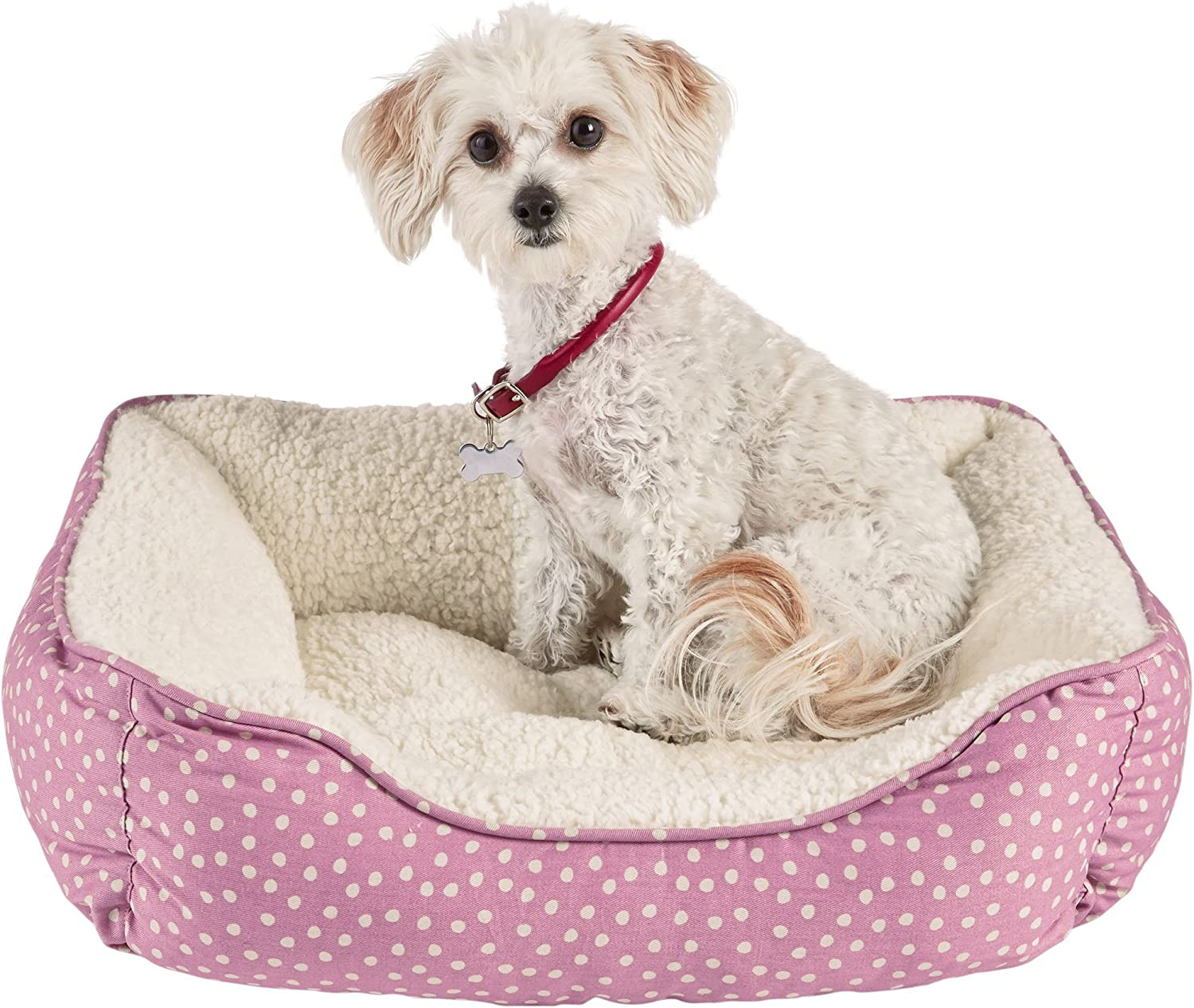 Harmony Pink Dot Nester Dog Bed, 20  L x 17  W, XSmall, Pink White