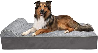 Furhaven Pet Dog Bed   Orthopedic Goliath Quilted Faux Fur & Velvet Chaise Lounge Living Room Couch Pet Bed w/ Removable Cover for Dogs & Cats, Gray, 2XL