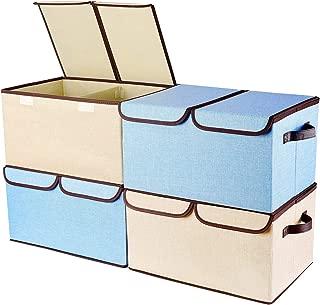 Senbowe 衣類収納ケース 収納ボックス ふた付き 折りたたみ 収納ケース 超大容量 幅45×奥行30×高さ25cm おもちゃ収納 衣類用 クローゼット整理用 (4個セット-B)