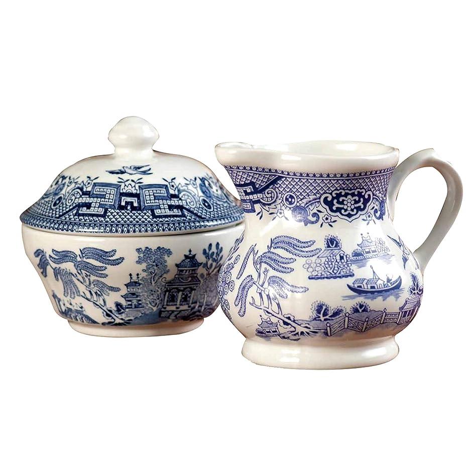 Churchill China Blue Willow Dinnerware (Sugar Bowl & Cream Jug Set)
